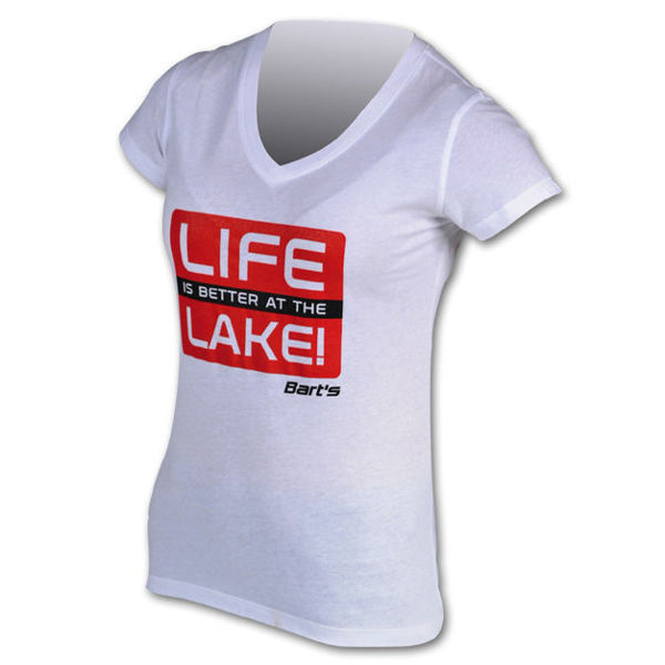 Picture of Bart's Life Is Better At The Lake Women's V-Neck Tee (Sz Lg only)