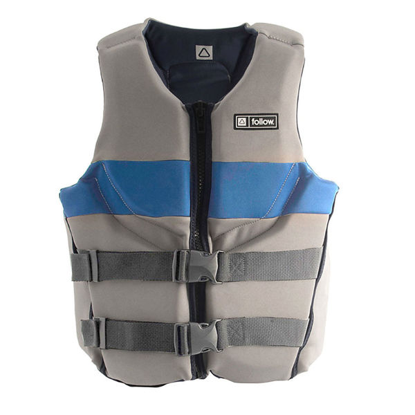 gray and blue vest front