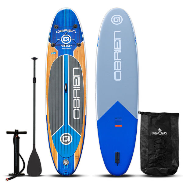 paddle board with paddle, pump, and bag